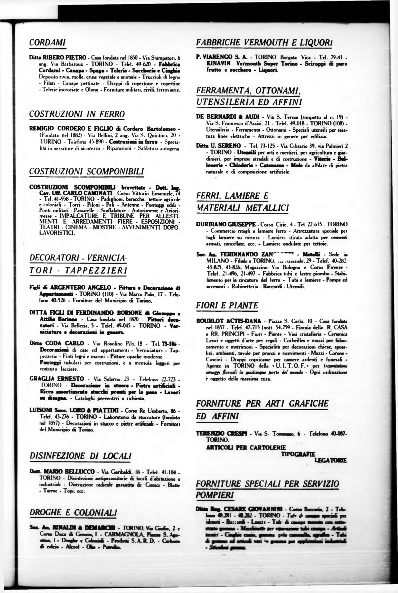 Forniture Per Tappezzieri Milano torino. rivista mensile municipale 1940